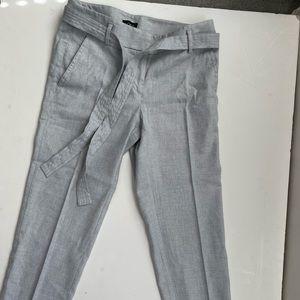 LOFT Linen Blend Dress Crop Pants w/ Belt